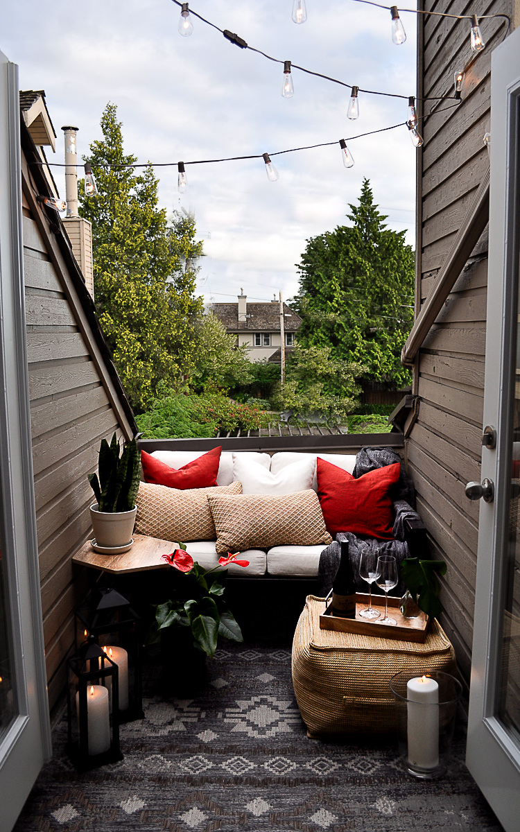 Reveal of a small patio on a budget.