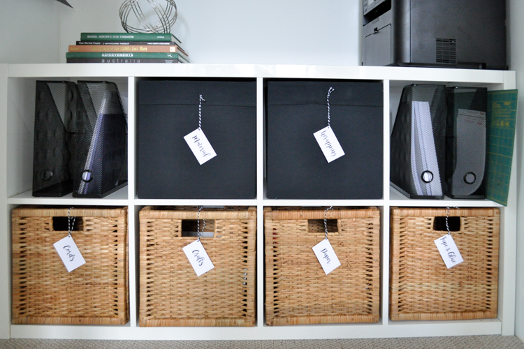 Budget office makeover, storage baskets.