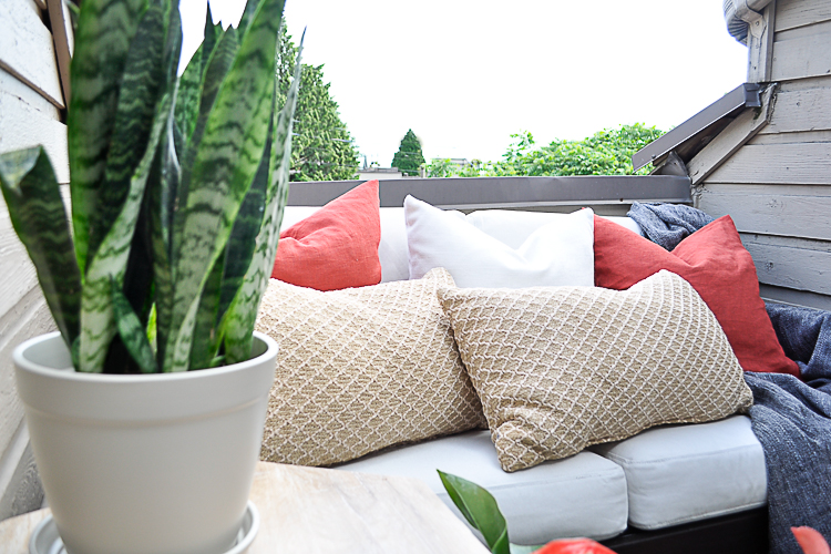 Reveal of an affordable outdoor patio, designed on a budget.