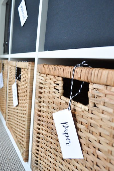 DIY basket tags for home office organization